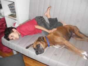 My son and my dancing dog  Milu